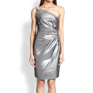 Hallaron Heritage silver lamè one shoulder dress